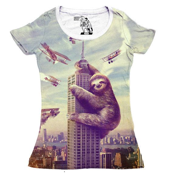 Sloth, Slothzilla, Women's Tee, Sloth shirt, Available S M L XL 2XL