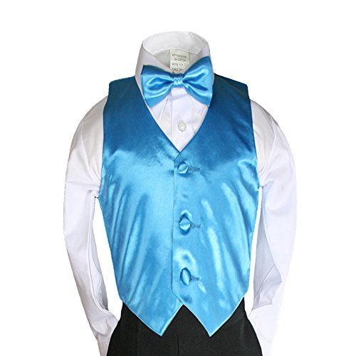 Unotux 23 Color 2pc Boys Formal Satin Vest and Bow Tie Sets from Baby to 7 years