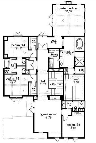 Plano de casa moderna con 4 dormitorios y sala de juegos for Casa moderna 5 dormitorios