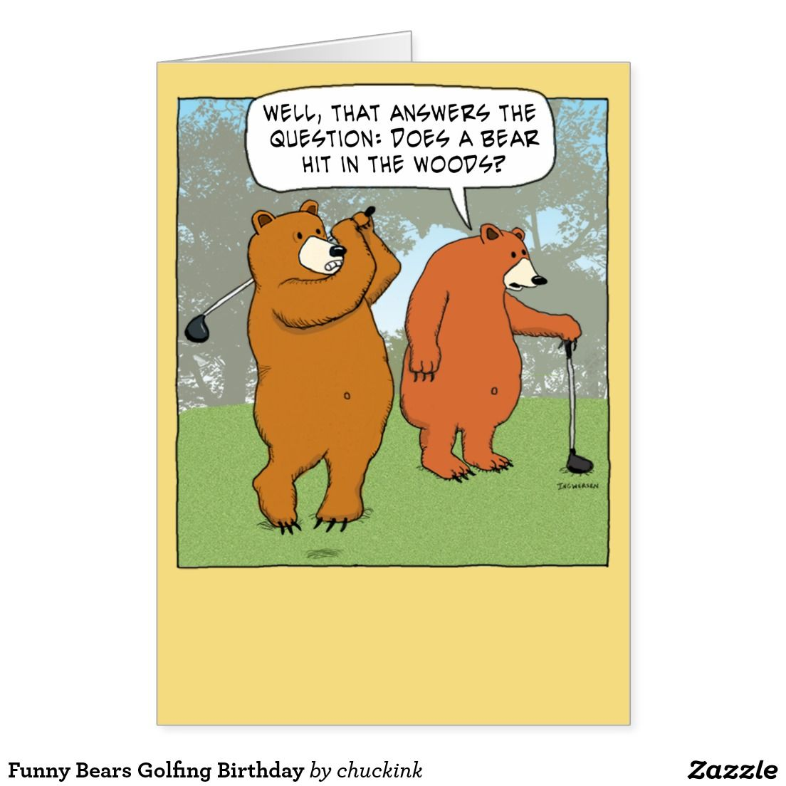 Funny Bears Golfing Birthday Card