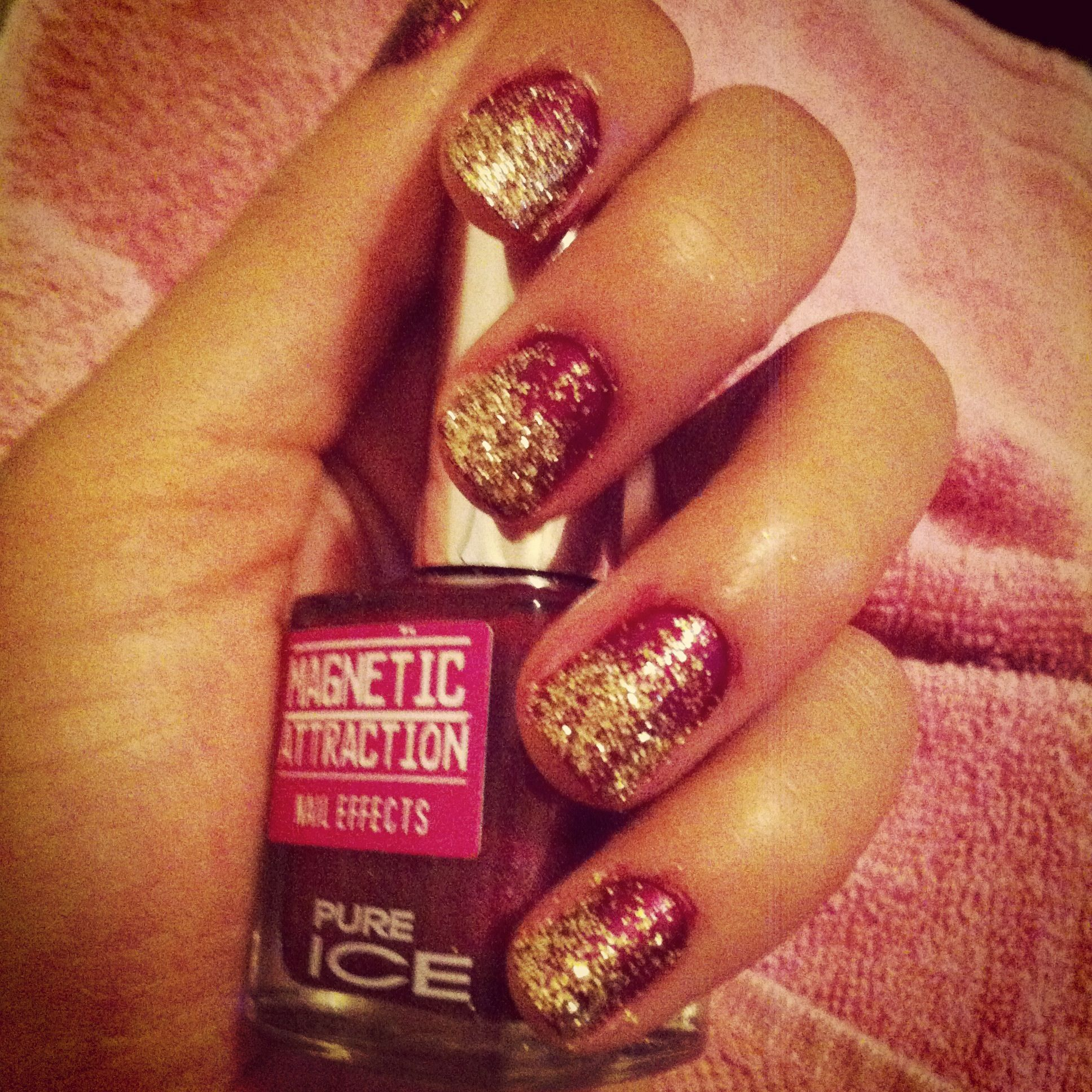 Burgundy with loose gold glitter.
