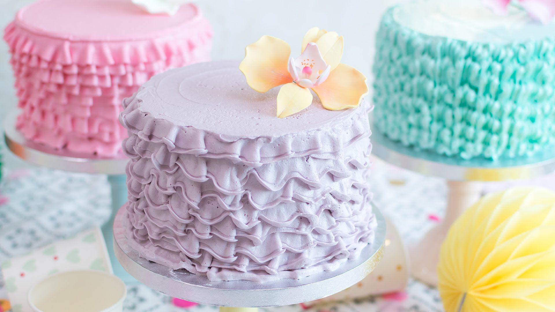 Cómo hacer ruffle cakes o tartas con volantes - Tutorial - María ...
