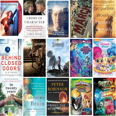 See what's new this week at the Muskegon Area District Library at:  * http://wowbrary.org/nu.aspx?fb&p=5256-238 *  There are 12 new bestsellers, 12 new videos, eight new audiobooks, one new music CD, seven new children's books, and 95 other new books.