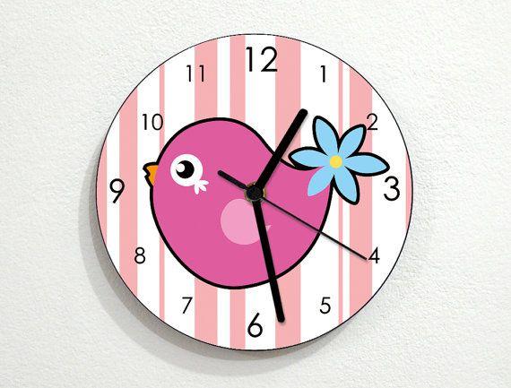 Pink Bird Kids Nursery Room Wall Clock by inPhoenixArt on Etsy #Home ...