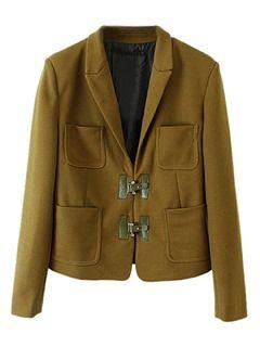 Shop Army Green Pocket Slim Blazer from choies.com .Free shipping Worldwide.