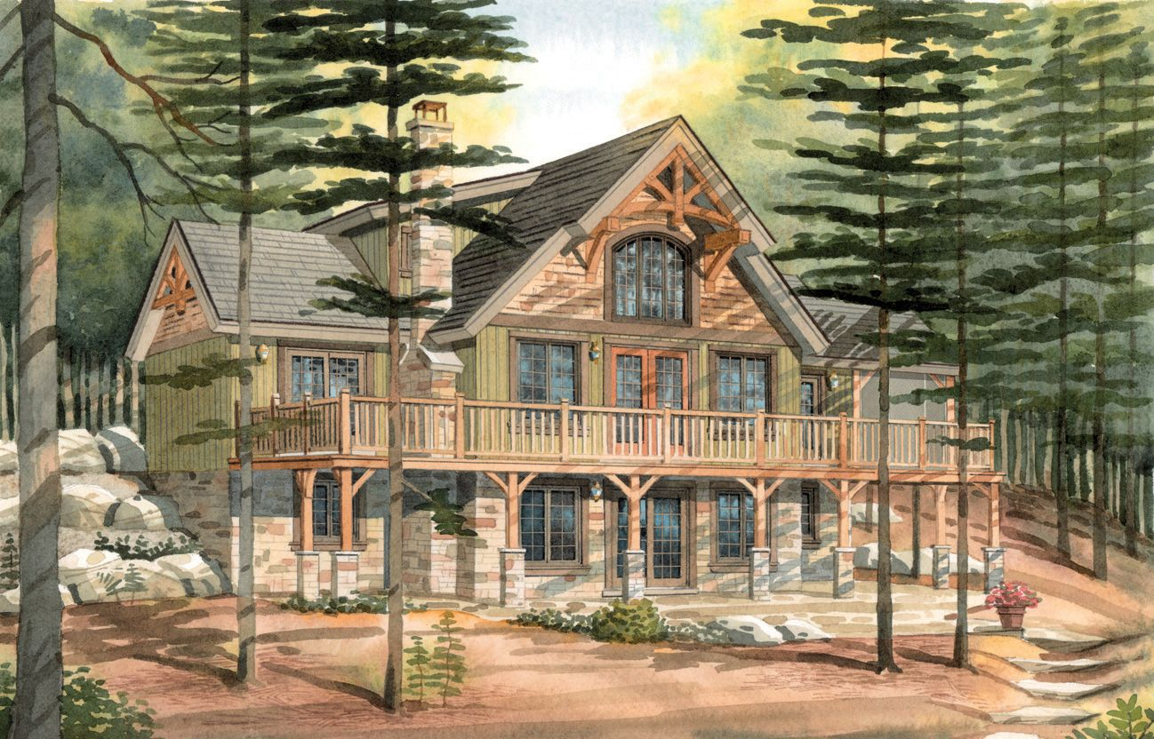 Carleton a timber frame cabin walkout basement for Timber frame house plans cottage