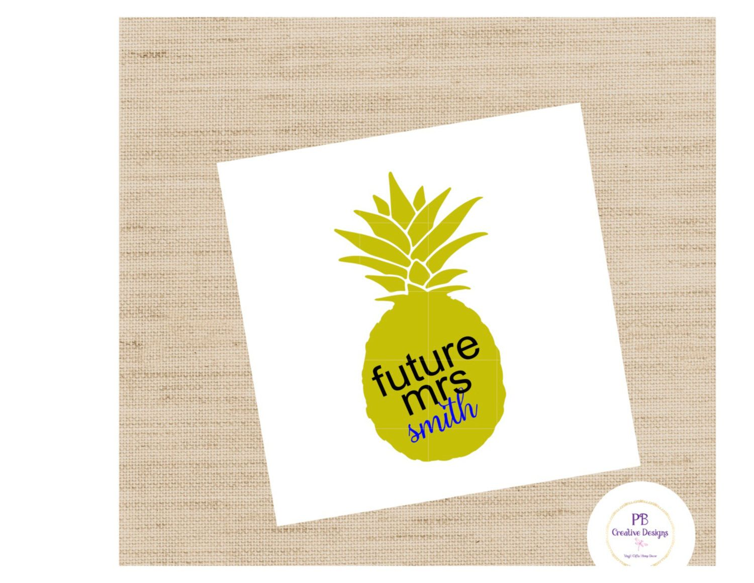 Pineapple / Future Mrs. decal for wine glass /DIY Decal / Car Decal / Tumbler Decal by PBCreativeDesigns on Etsy