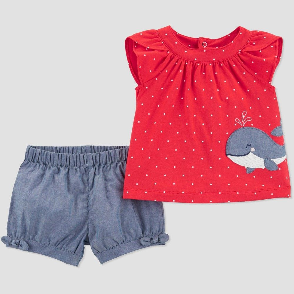 Striped Cotton Top and Shorts Set Size Nb 3 MO Carter/'s Baby Girls 2-Pc 6 MO
