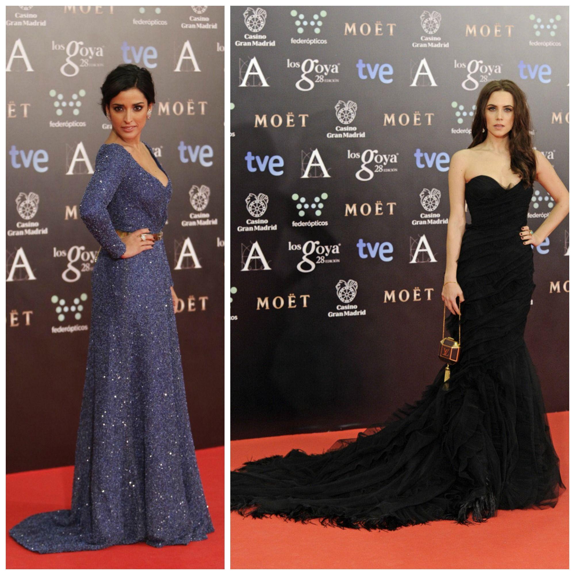 Inma Cuesta y Aura Garrido fueron de las mejores vestidas en la gala de los Goya 2014. Ojo a la limosnera de Louis Vuitton que llevaba Aura.