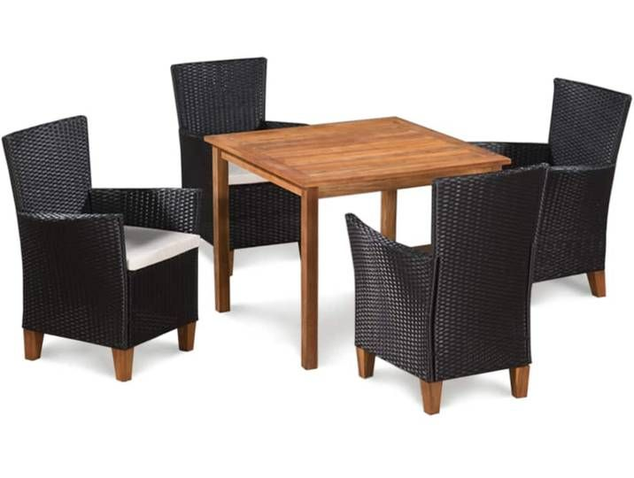 Vidaxl 5 Tlg Garten Essgruppe Poly Rattan Schwarz Und Braun Wicker Dining Set Outdoor Furniture Sets 5 Piece Dining Set