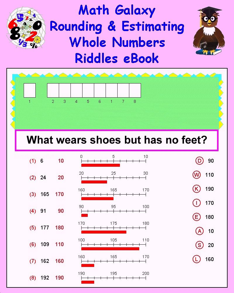 Rounding and Estimating Whole Numbers Riddles eBook Math