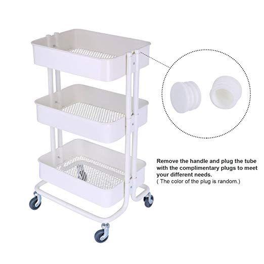 ce41613edf17 Amazon.com : 3-Tier Metal Mesh Storage Shelf Utility Rolling Cart ...