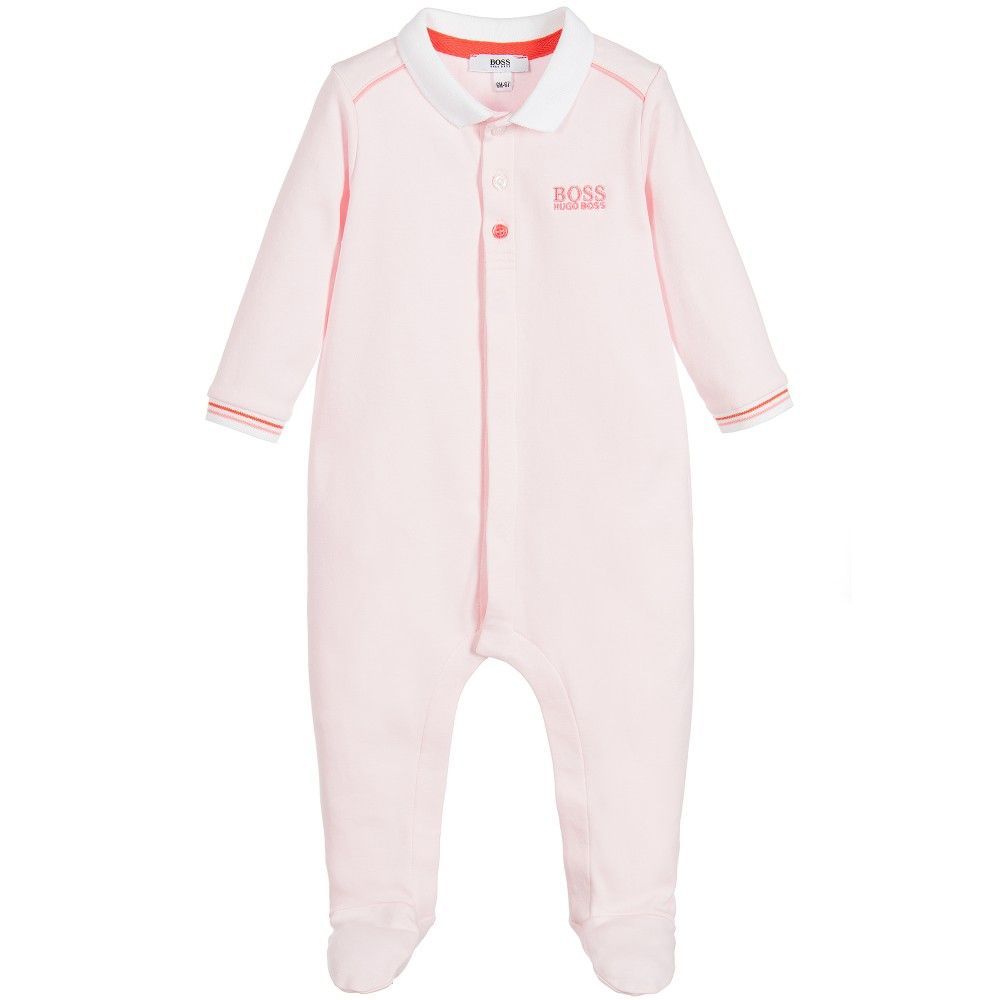 BOSS Girls Pink Cotton Jersey Babygrow | Boss Kids Clothes ...