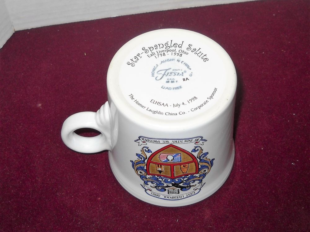 Fiesta® Dinnerware East Liverpool Ohio Ring Handle Mug. July 4, 1998 was the celebration of the 200 years of East Liverpool, Ohio.  Homer Laughlin was a corporate sponsor of the activities of the East Liverpool High School Alumni Association and produced this mug.  It bears the crest of the city and that of the city of Stoke-on-Trent, their sister city in Staffordshire, England | eBay