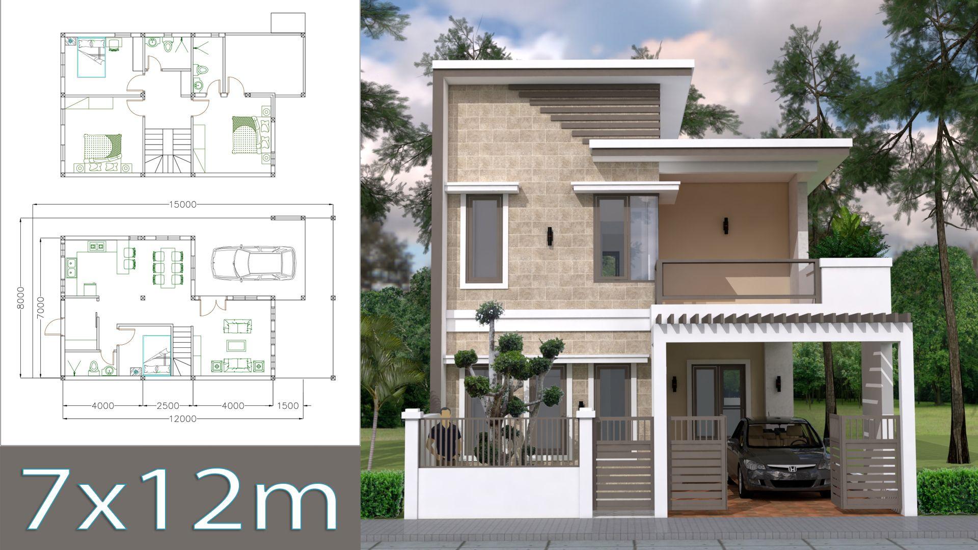 Home Design Plan 7x12m With 4 Bedrooms Plot 8x15 Planos