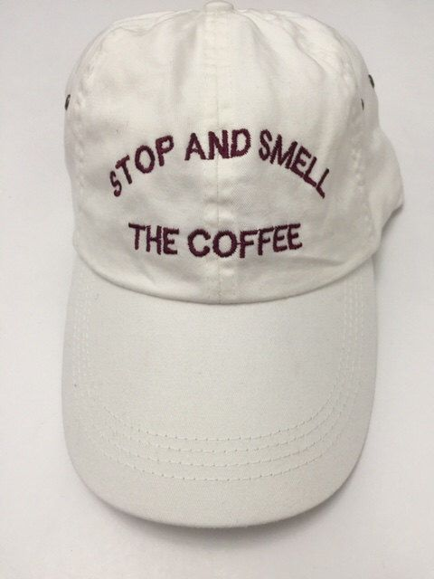 stop and smell the coffee white baseball cap with burgundy embroidery 100%  cotton starbucks instagram pinterest tumblr by ValDesignsOnline on Etsy ... 4f13748d9991