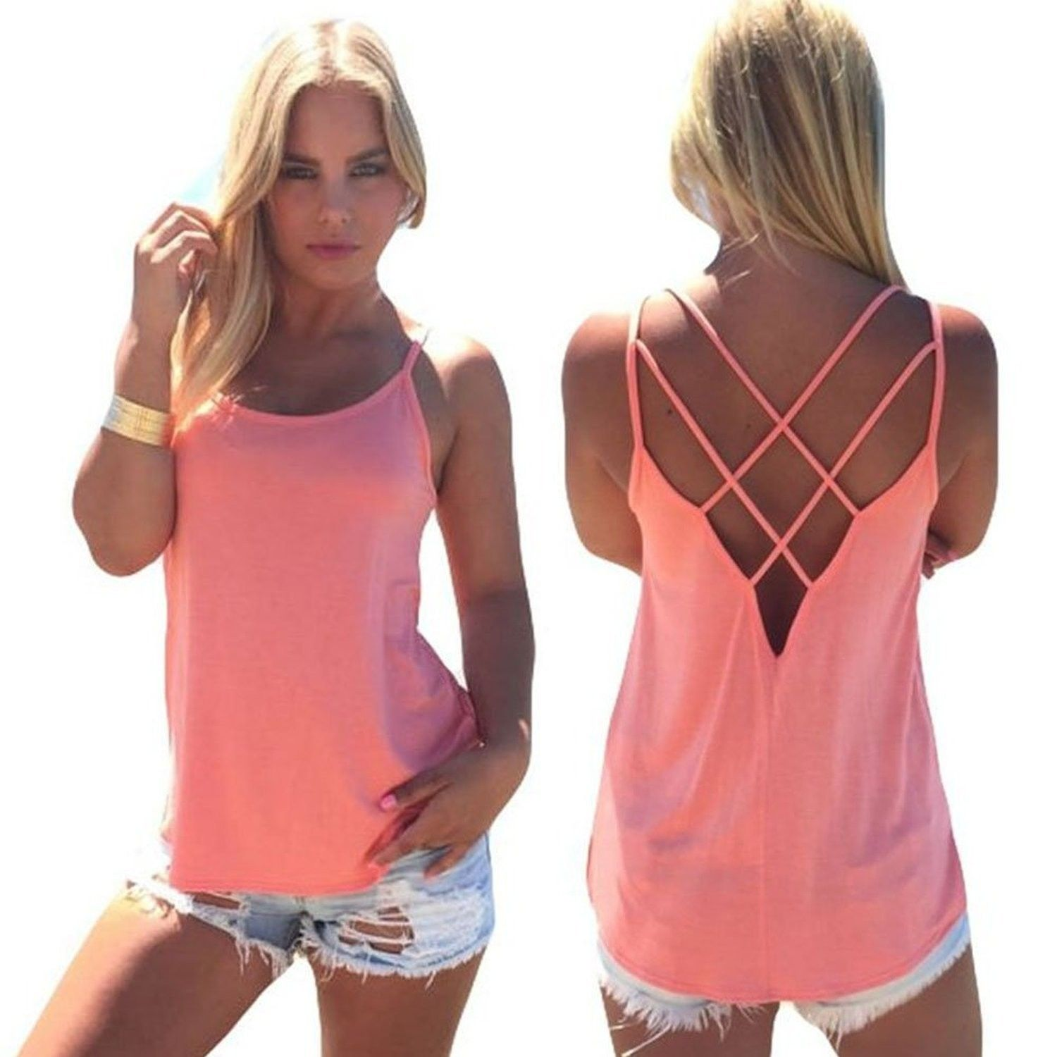 6ed381d4e4a83f Women's Clothing, Tops & Tees, Tanks & Camis, Top Tops For Women Trendy  Tank Top Crisscross Backless Shirts Loose Camisole Top - Pink - C6184XUK7HT  ...