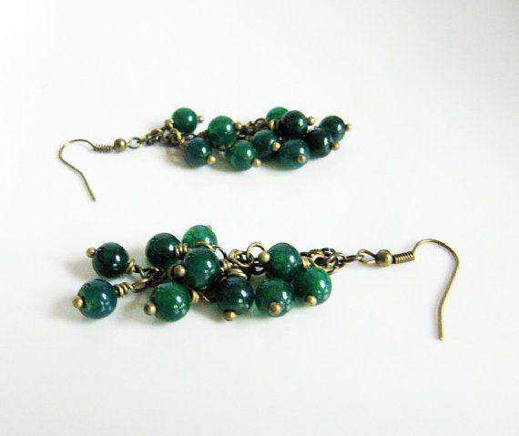 Emerald green cluster earrings, by romanticcrafts, $14.00