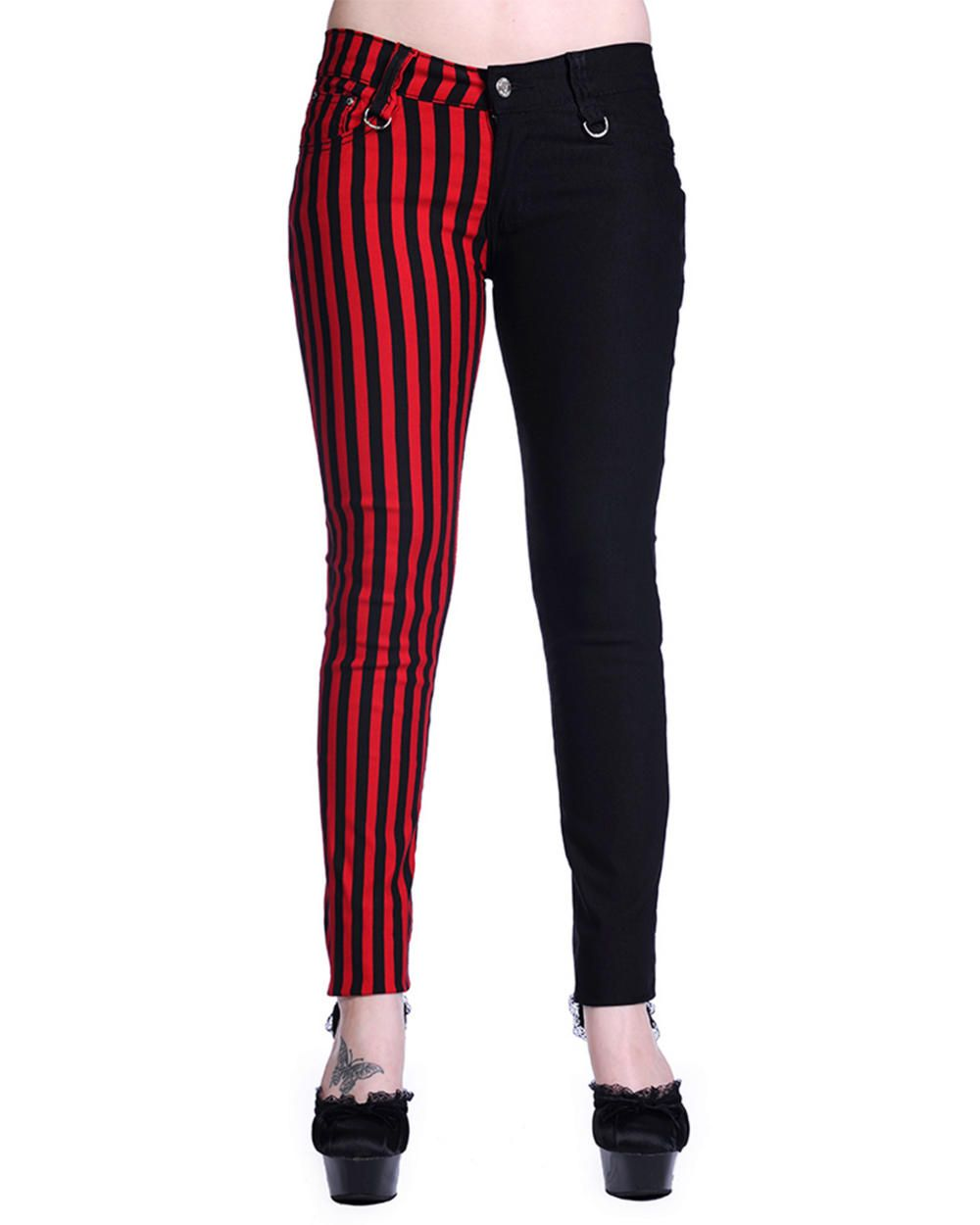 5f49b8ccc6ea7 BANNED BLACK RED STRIPE SPLIT LEG SKINNY JEANS | Spikes, chains, and ...