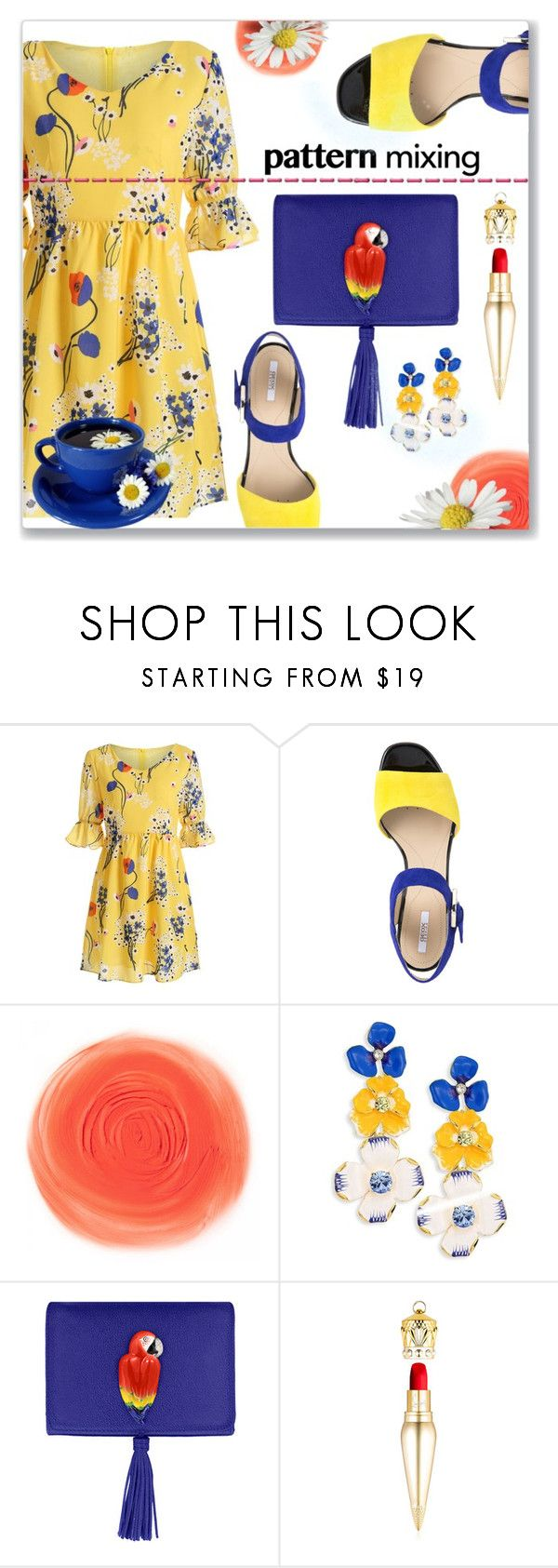 """Mix it up"" by interesting-times ❤ liked on Polyvore featuring Geox, Kenneth Jay Lane, Nach Bijoux, Christian Louboutin and patternmixing"