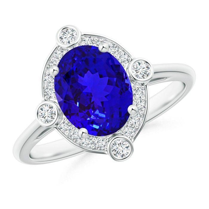 Angara Deco Inspired Oval Tanzanite and Diamond Halo Ring in 14K White Gold jHt6Akwm