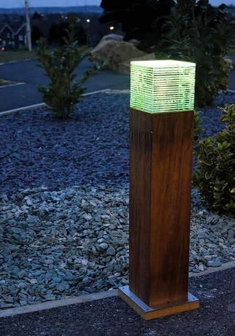 Iroko Wooden Led Bollard Light Solid Wood
