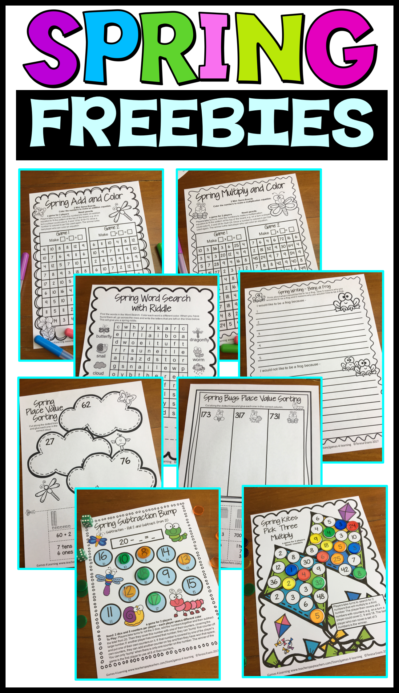 Spring FREEBIES - No Prep Spring printables - Includes Spring math board games, Spring math game sheets,  Spring place value cut and paste activities, Spring writing prompt and a Spring word search.
