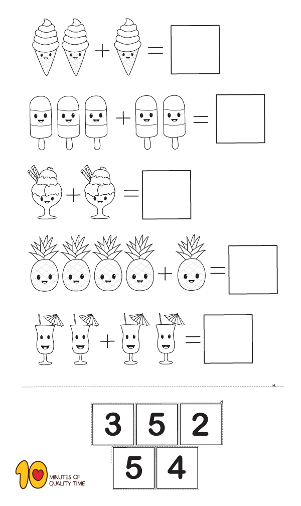 Math For Kindergarten Simple Addition Math Kindergarten Math Worksheets Preschool Math Worksheets Kindergarten Math
