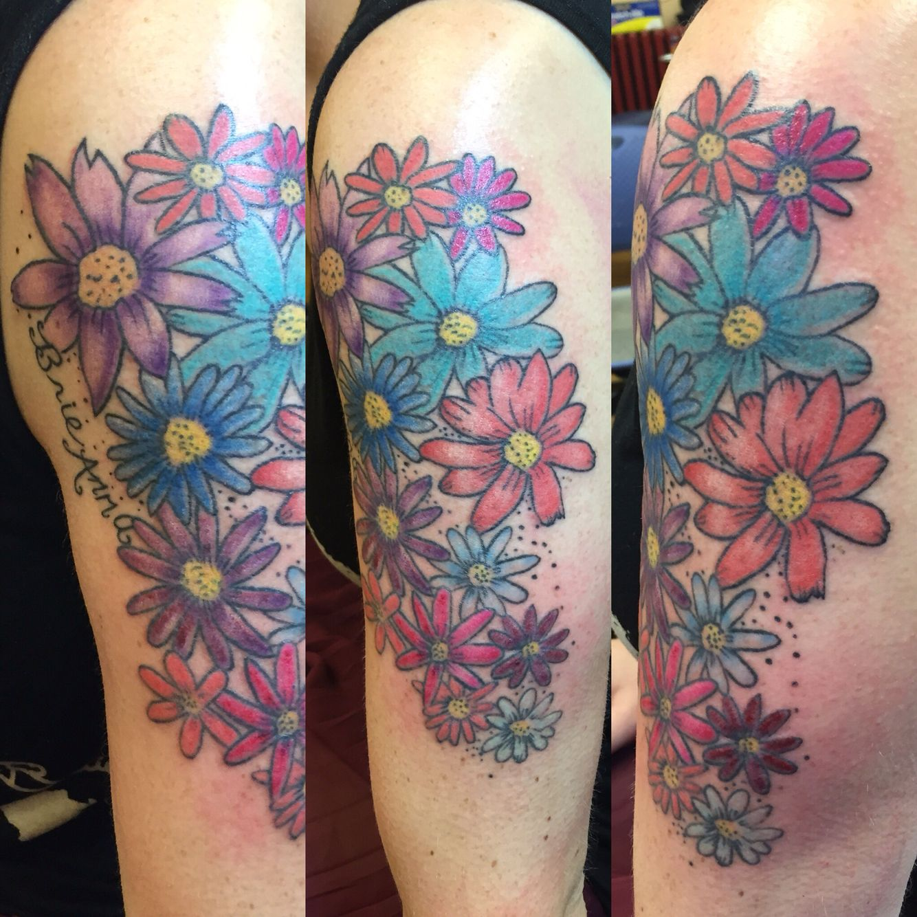 Color daisy tattoo sleeve by Violet Page Tattoos, Sleeve