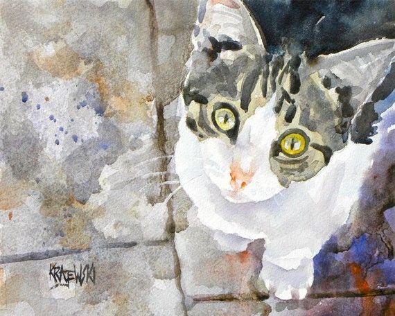 Tabby Kitten Art Print of Original Watercolor by dogartstudio