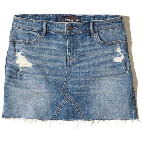 13fe6603986d Hollister Low-Rise Denim Mini Skirt ($40) ❤ liked on Polyvore featuring  skirts, mini skirts, destroyed medium wash, distressed skirt, blue mini  skirt, ...