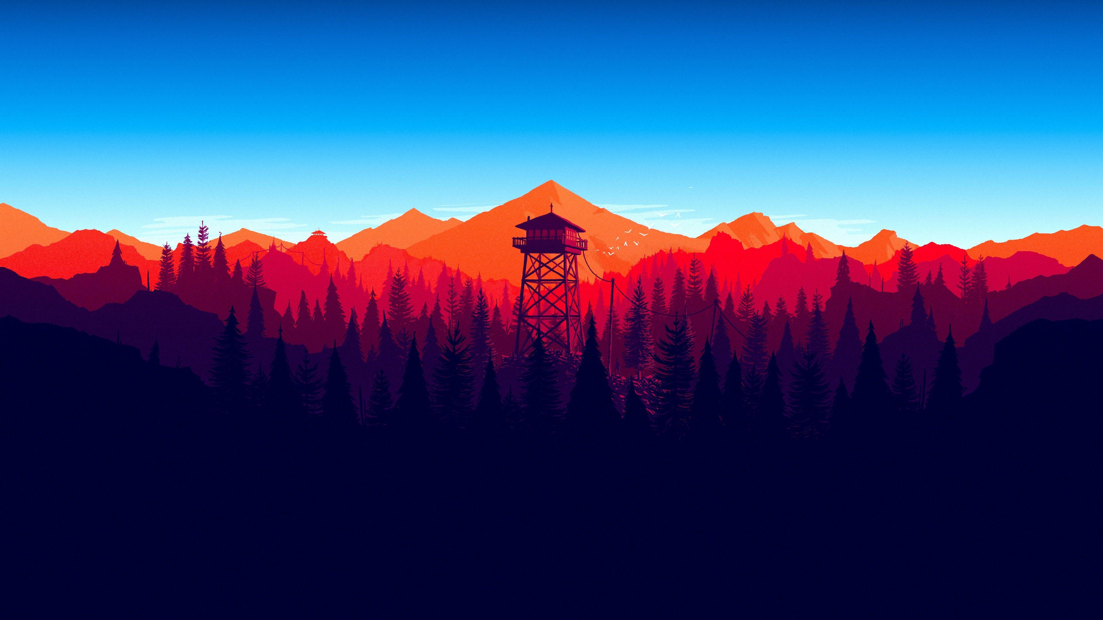 General 3840x2160 Mountains Minimalism Forest Firewatch Desktop Wallpaper Art Minimal Wallpaper Minimalist Wallpaper