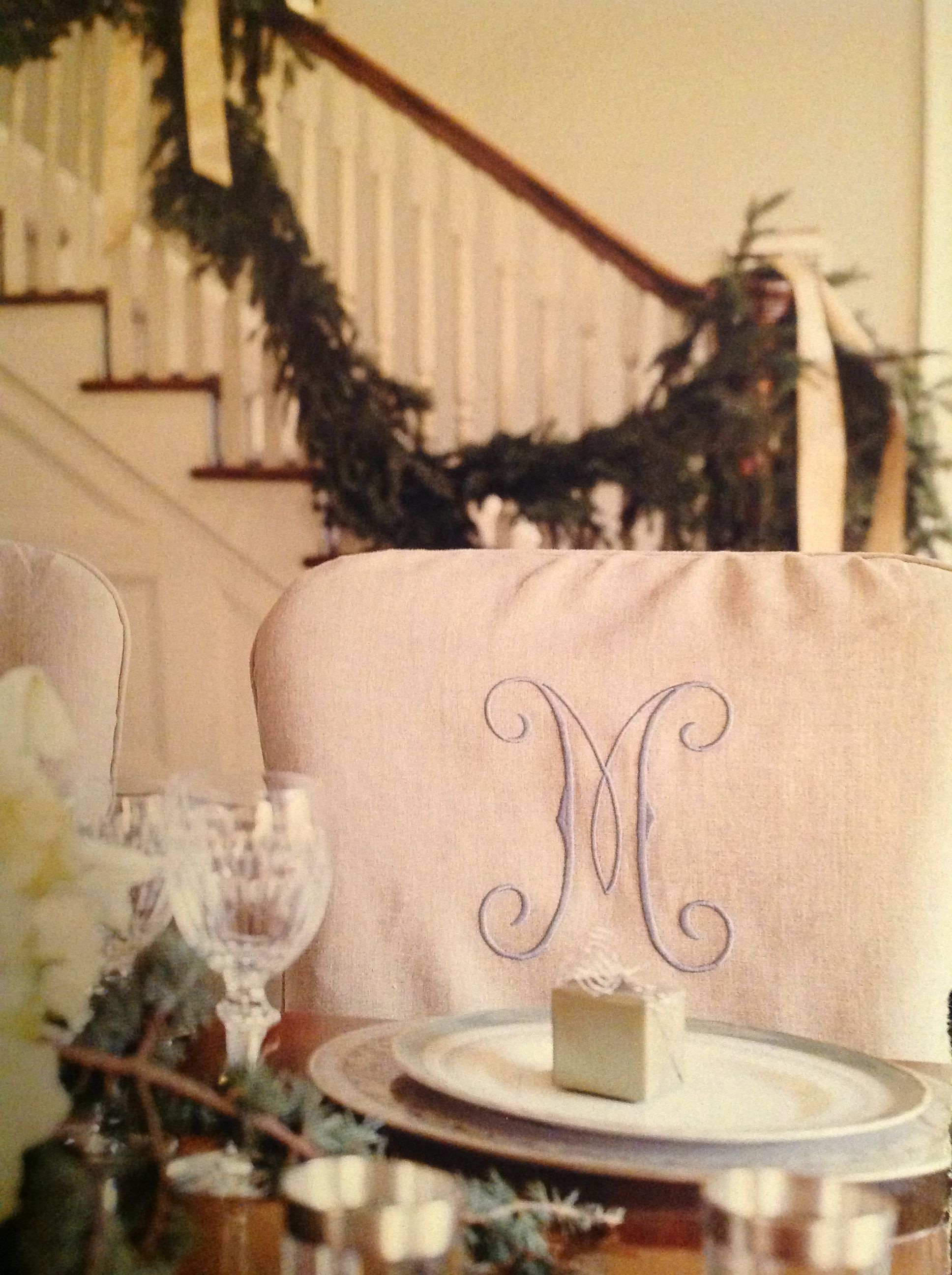 Monogrammed Dining Chair Covers I Like The Stair Garland