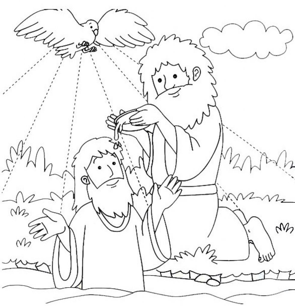 Jesus Baptized By John The Baptist Coloring Page For Baptism With ...