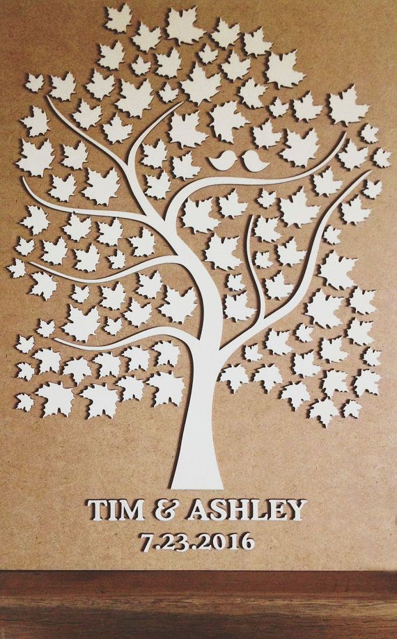 Wedding Guest Book Alternative Tree Wood Rustic Guestbook Gift Of Hearts Leaves