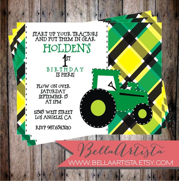 John Deere Inspired Tractor Birthday Party Invitation