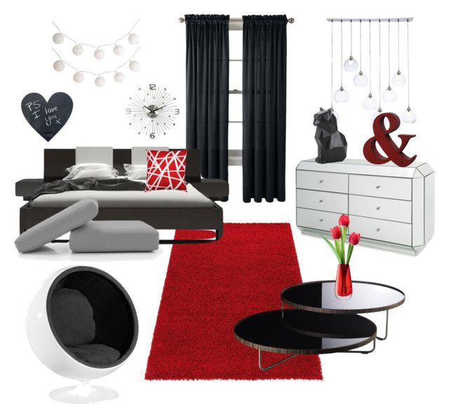 """""""Modern Red"""" by kroetman ❤ liked on Polyvore featuring interior, interiors, interior design, home, home decor, interior decorating, Royal Velvet, CB2, PyroPet and Modloft"""