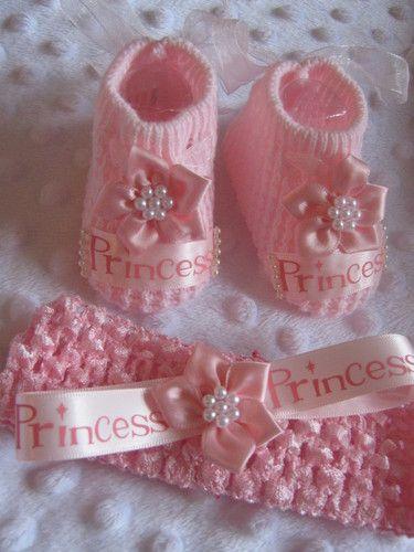Baby Girl Princess Pink Newborn Shoe Headband Outfit Clothing Bundle Gift Set Ebay Breien Haken