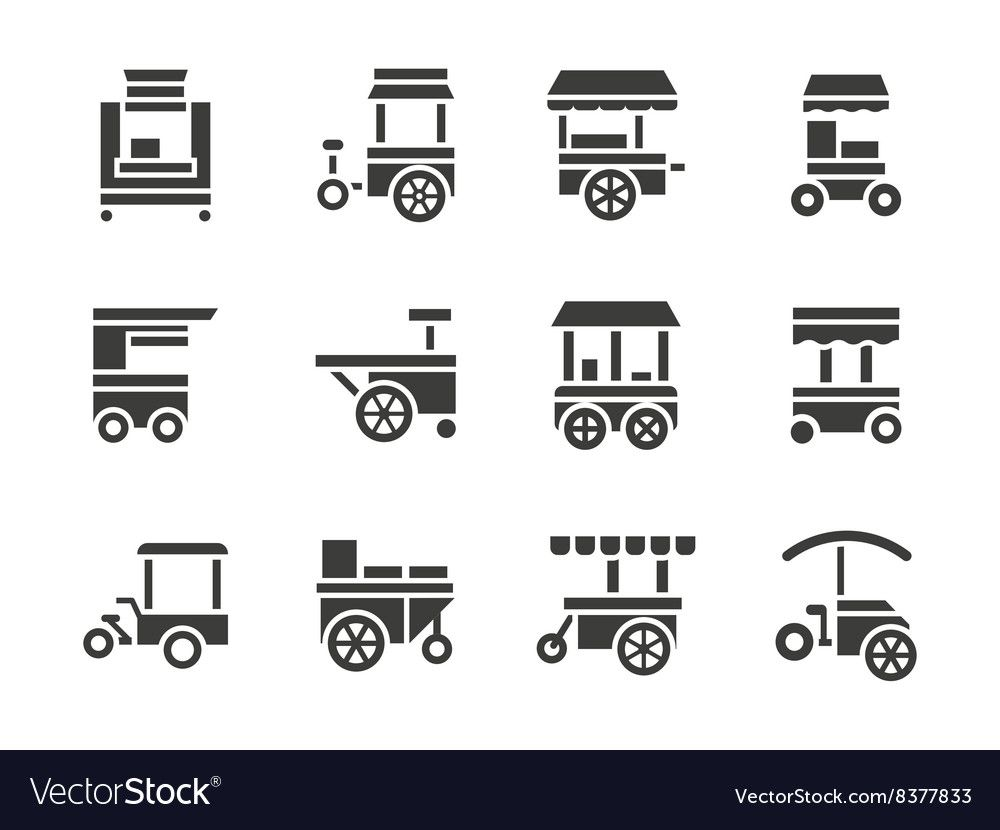 Simple glyph food trolley icons set vector image on