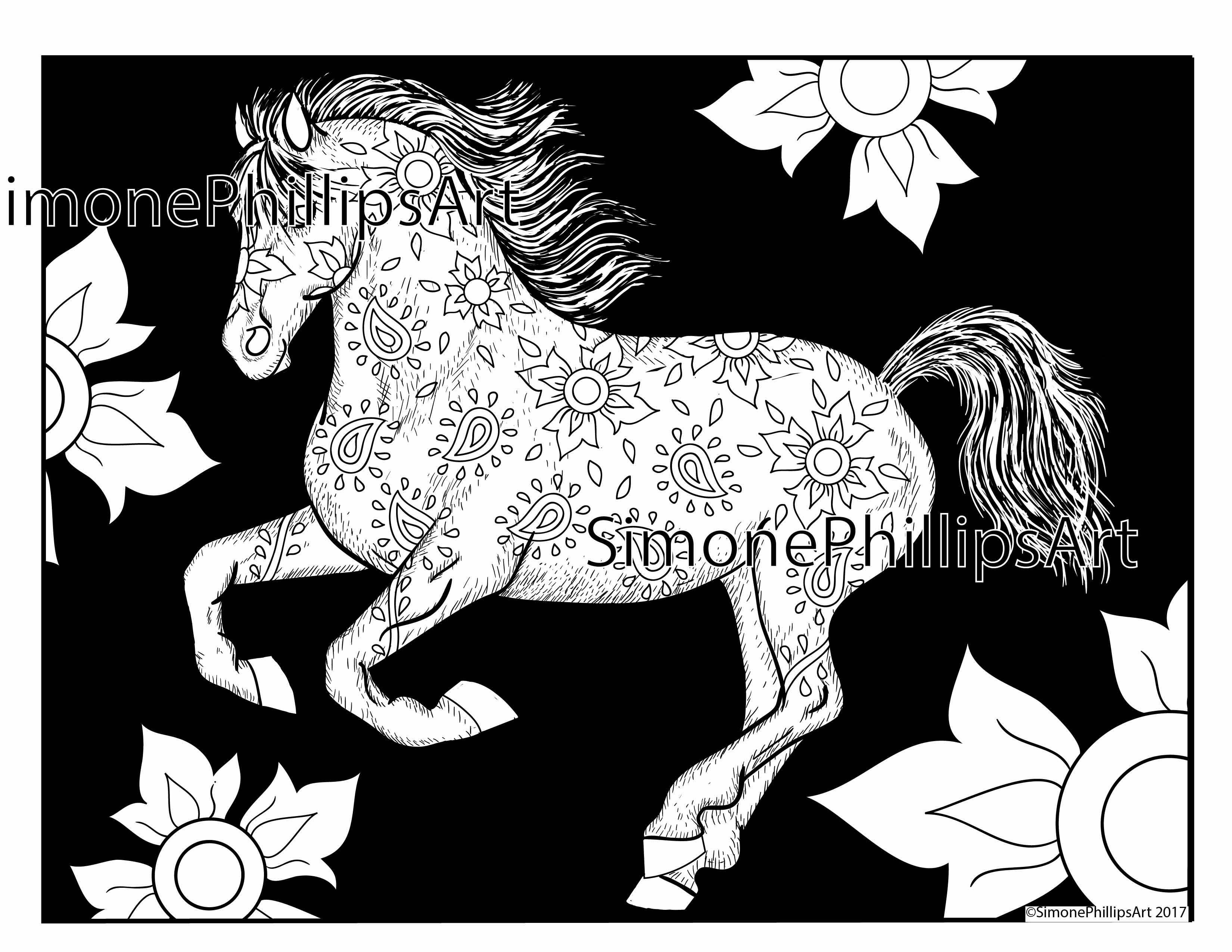 Horse Simonephillipsart Coloringpage Horse Coloring Pages Horse Coloring Horse Galloping [ 2550 x 3300 Pixel ]