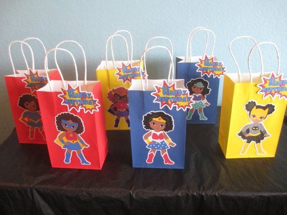 African American Girl Superhero Goody bags(10)Superhero Birthday,Girl superhero party,Superhero Gift #superherogifts