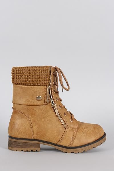 Bamboo Sweater Cuff Combat Ankle Lug Boots 6600 Booties