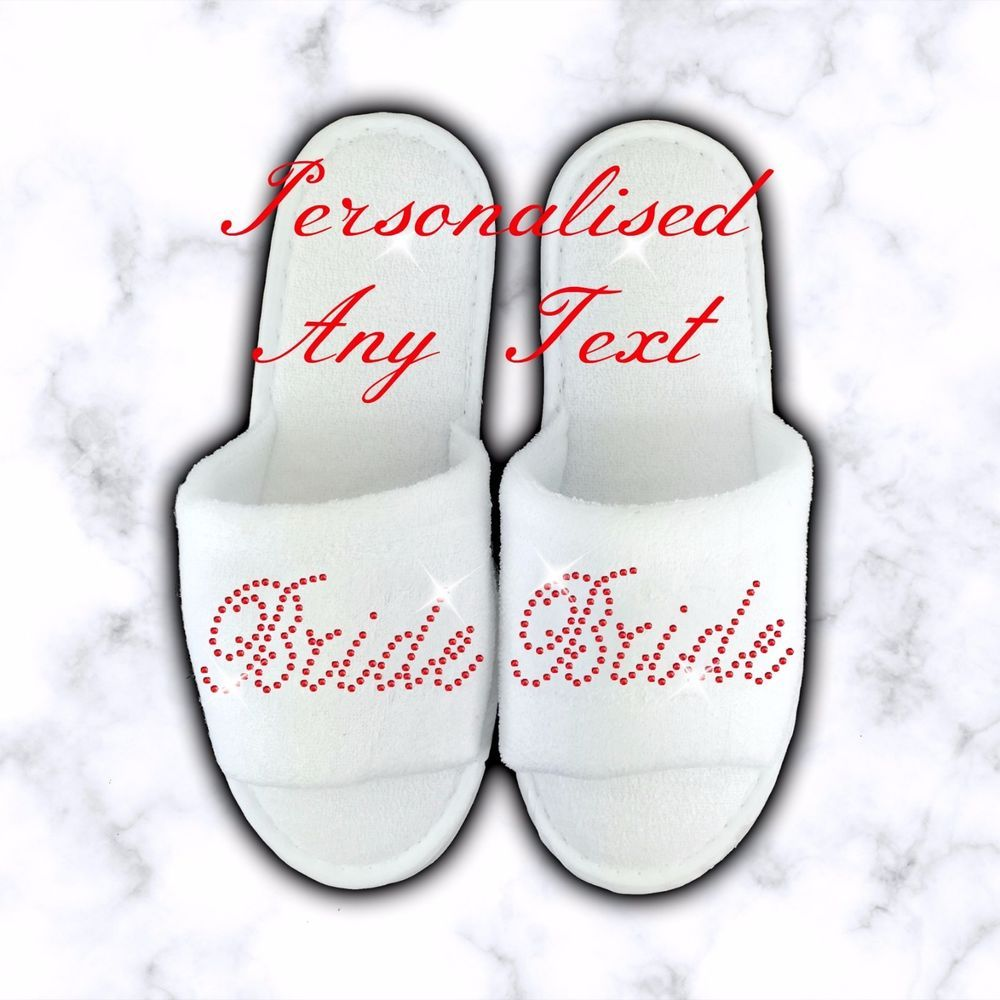 Personalised Slippers Diamante Wedding Spa Guest Shoe Towelling RED Mini Font
