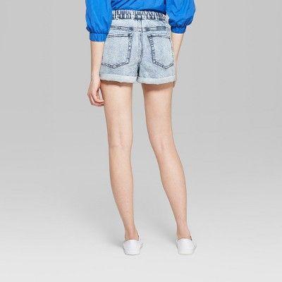 a9fed9158c Women's High-Rise Elastic Waist Denim Shorts - Wild Fable Light Acid Wash  Xxl,