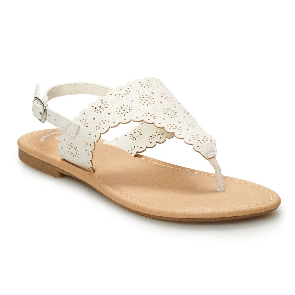 b69826f68ee SO Scalloped Girls' Thong Sandals, Girl's, Size: 12, White in 2019 ...