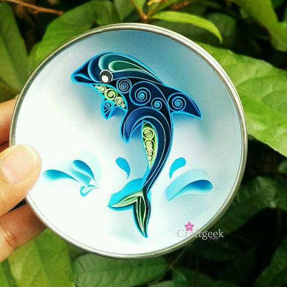 Dolphin Quilled Paper Art Magnet Dolphin Paper By