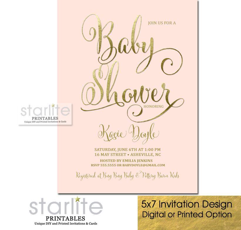Baby Shower Invitation Script Blush Pink Gold Foil | Shower ...