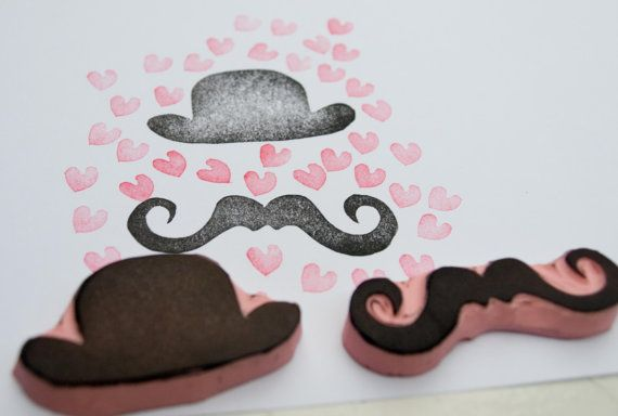 NEW Rubber Stamp Set of Mustache and Hat for Cards by PoshBinky, $8.00