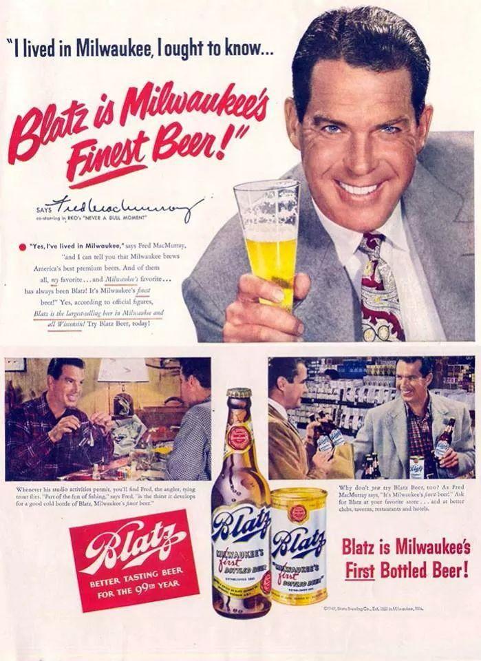 Fred McMurry Blatz beer ad Beer ad, Beer advertising