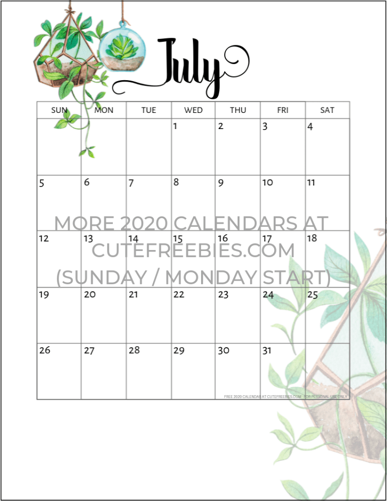 Printable Calendar July 2020.2019 2020 Calendar Free Printable Plants Theme Cute Freebies